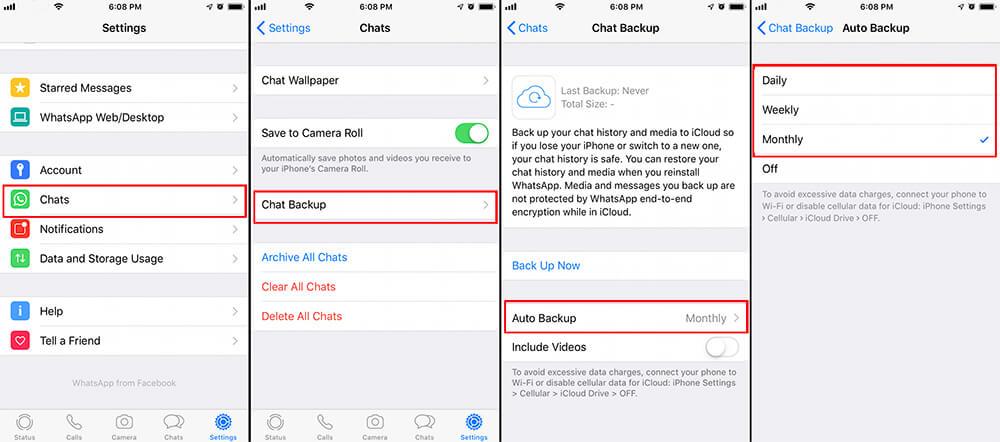 open whatsapp auto backup on iphone