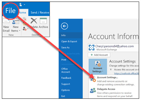 outlook email accout settings