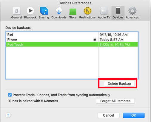 remove itunes backups on mac