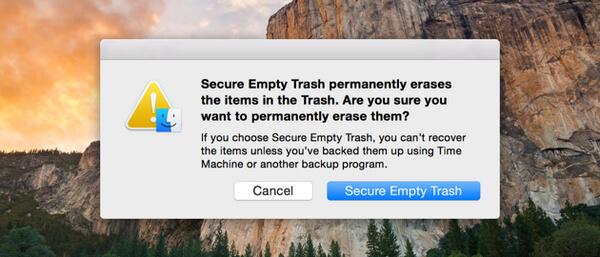 secure empty trash on mac