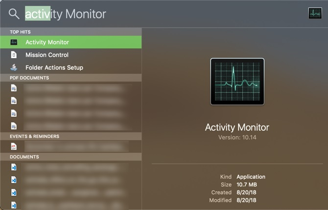 activity monitor via spotlight