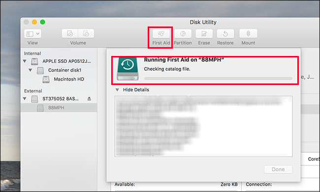 disk utility first aid