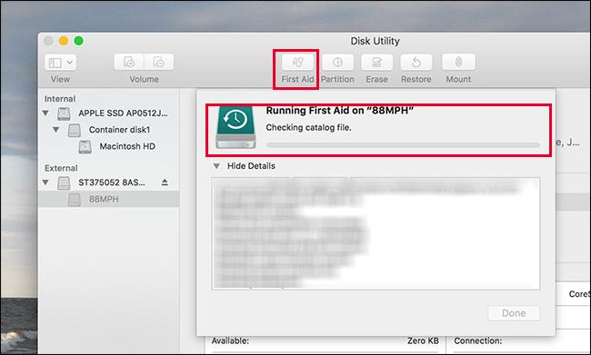 run disk utility first aid