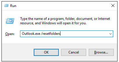 reset outlook folder
