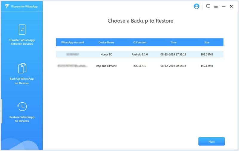 restore whatsapp backup itransor for whatsapp
