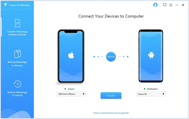 transfer whatsapp iphone to oneplus 7t - connect device