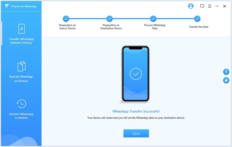 transfer whatsapp iphone to oneplus 7t - transfer success