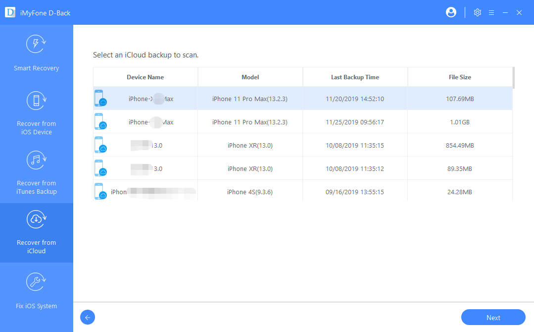 choose icloud backup version