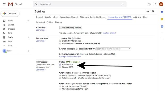 enable imap settings in gmail