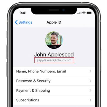 find apple id via icloud on iphone