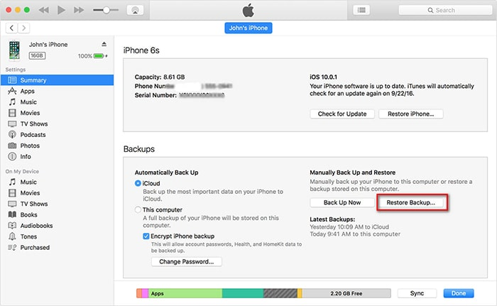 use itunes to restore iphone backup to another iphone