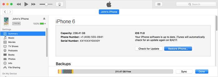 reset iphone 6 when locked via itunes