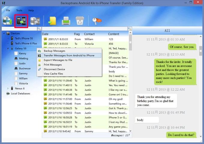 transfer kik messages using backuptrans android kik to iphone transfer
