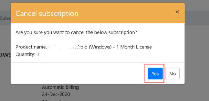 click yes to cancel