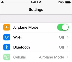 Turn the Airplane Mode On