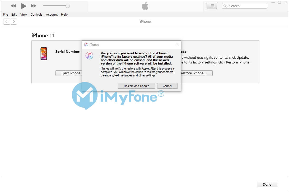 confirm restore and update