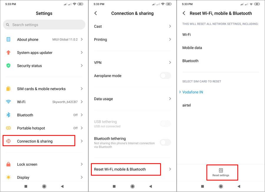 reset network settings