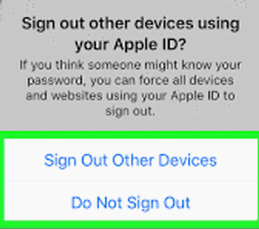 sign out other devices using apple id