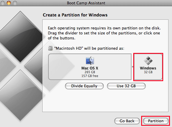 use boot camp to partition