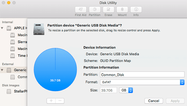 use disk utility to partition