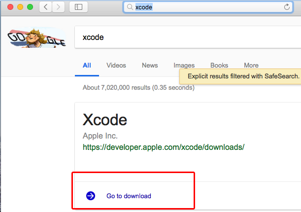 download and install the Xcode app