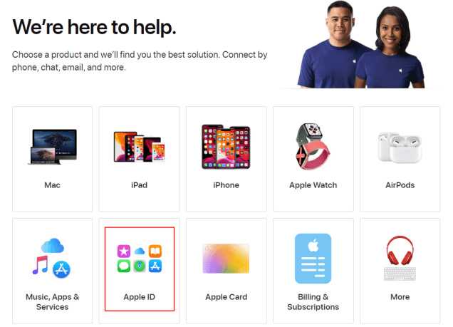Apple support page apple id