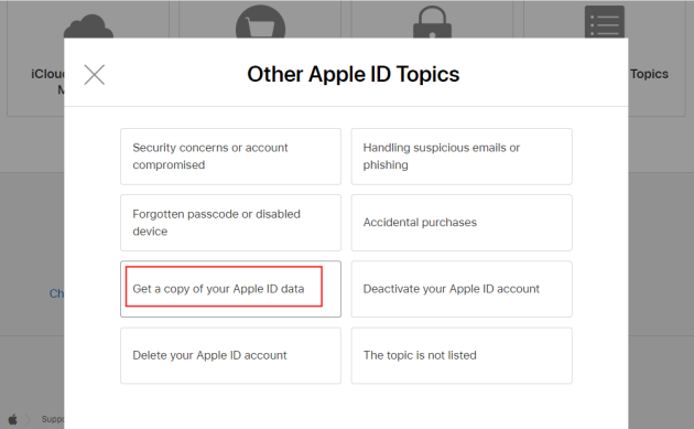 get a copy of apple id data