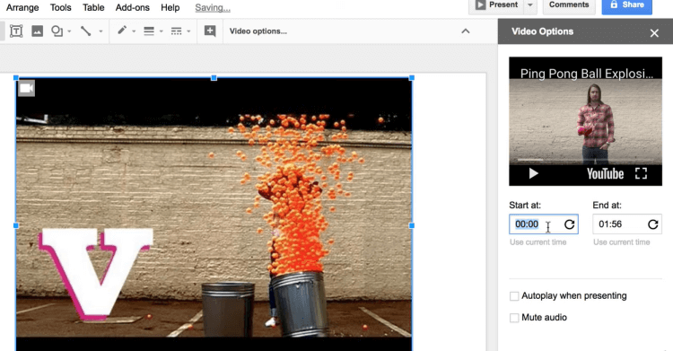 Google Slides split video