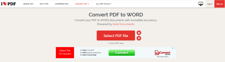 ILovePDF pdf to word