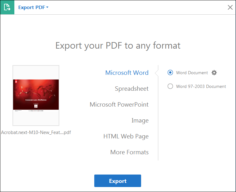 adobe convert pdf to word