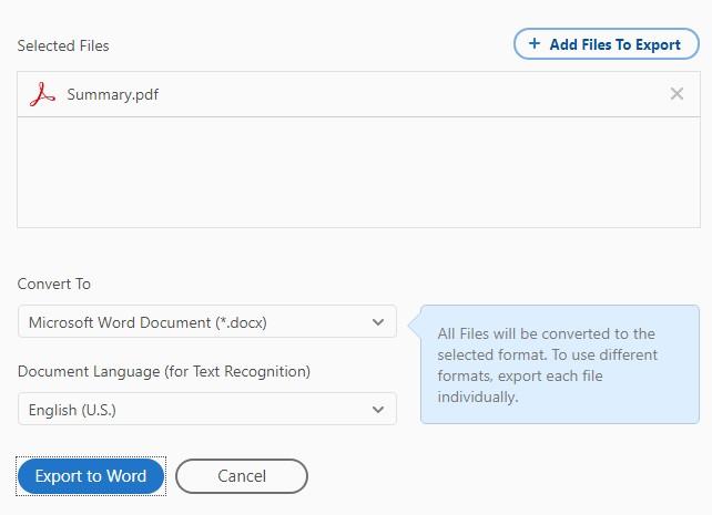adobe reader convert pdf to word
