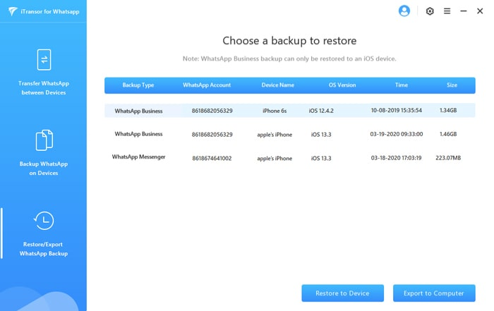 choose a whatsapp backup to export