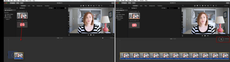 drag and expand videos in imovie