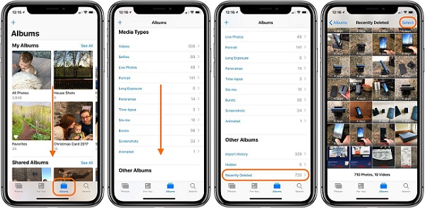 erase recently deleted photos on iphone