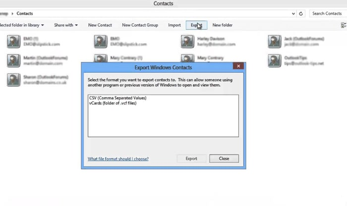 export contacts in windows address book to vcard