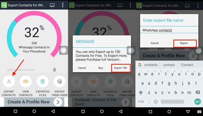 export whatsapp contacts on android