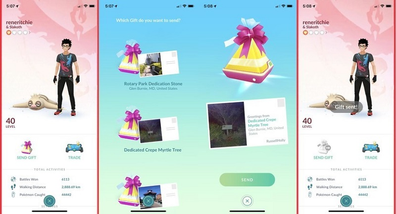 send gift to your friend in pokemon go