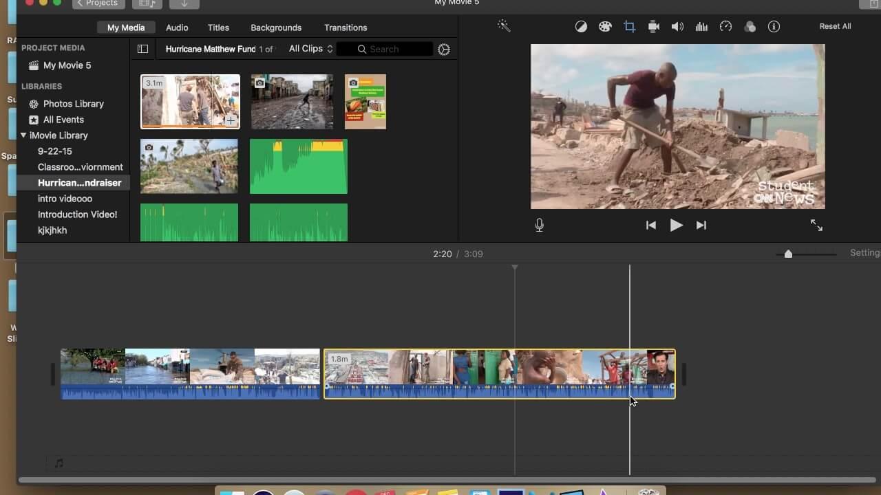 iMovie video splitter