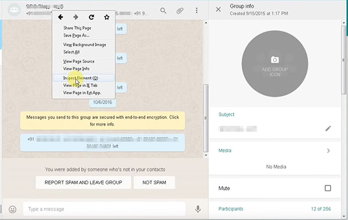 right click group contacts in whatsapp web