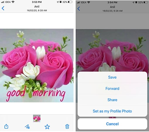 select whatsapp photo to send to email on iphone