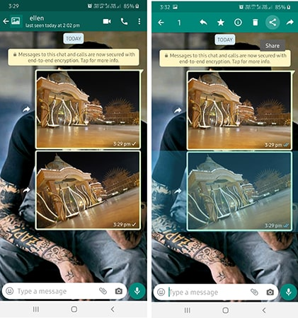share whatsapp photos on android