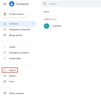 import vcard to google account