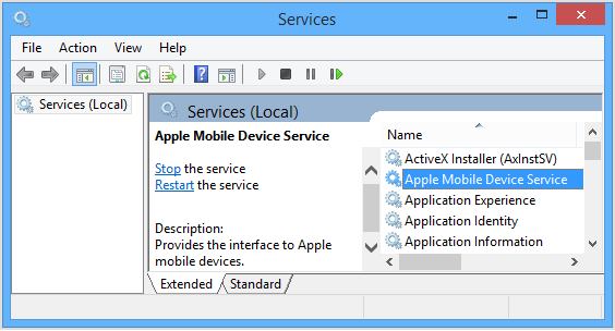 Apple Mobile Device Support service on windows