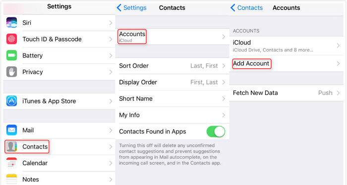 backup contacts to google account