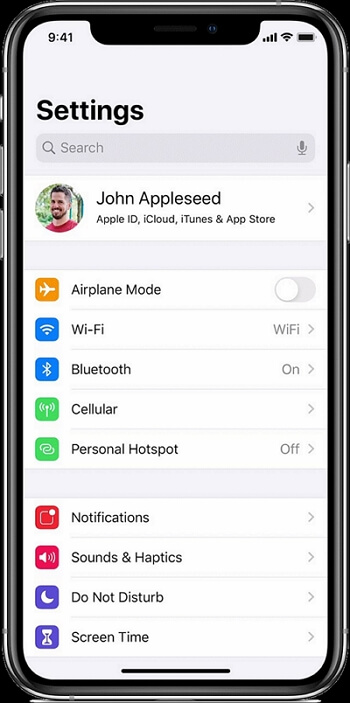 open settings on your iPhone