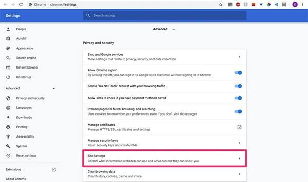 select site settings