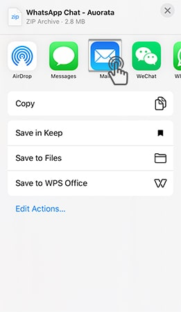 choose email to export whatsapp chat