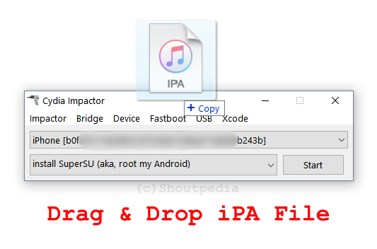 Drag and drop the IPA into Cydia Impactor