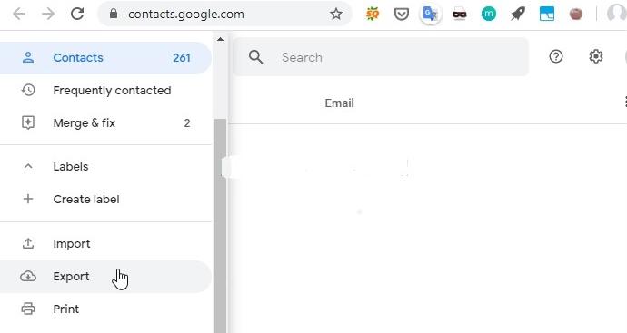 export contacts via google account