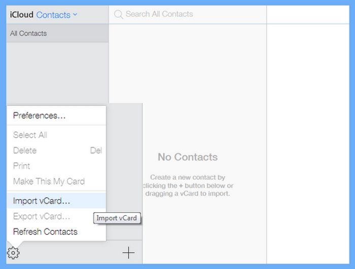 import contacts from vCard